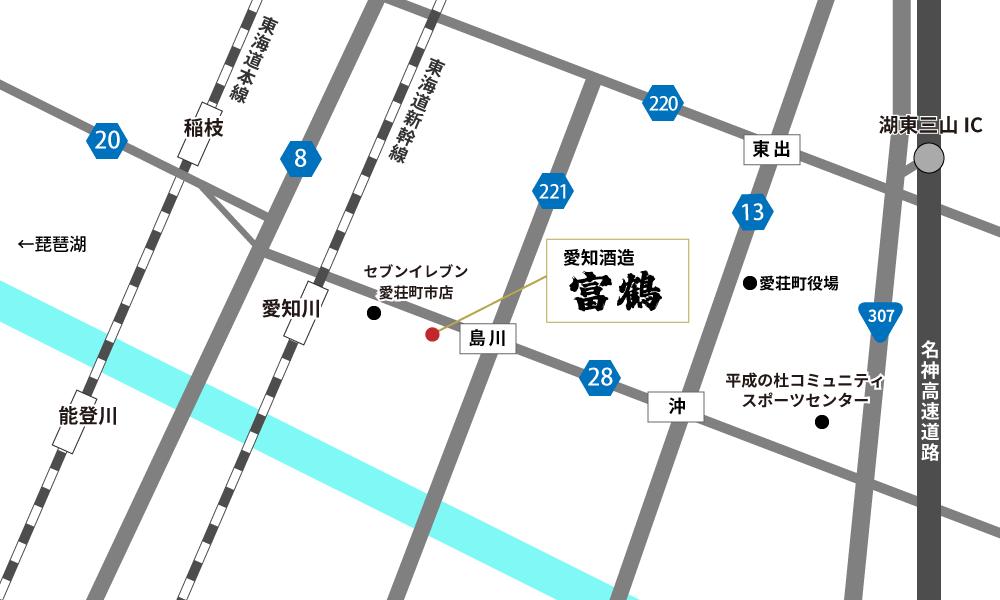 愛知酒造へのアクセスマップ